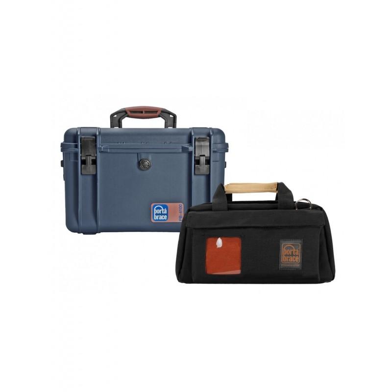 Portabrace – PB-XC15 – CAMERA CASE SOFT W/ HARD CASE – COMPACT HD CAMERAS – BLACK/BLUE – MEDIUM